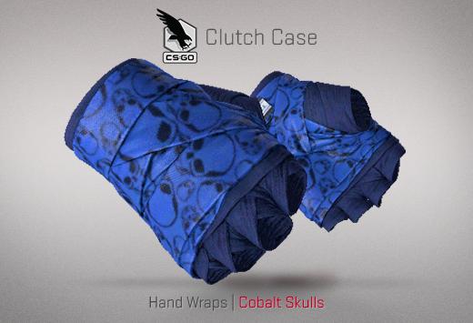 Clutch case Hand Wraps Cobalt Skulls