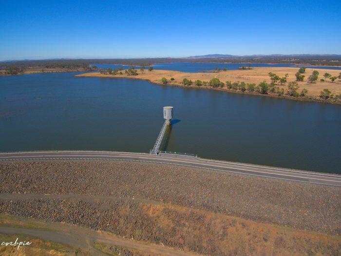 Lake Eppalock intake tower and dam wall