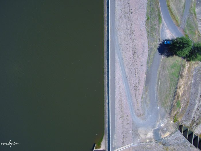 Upper Coliban dam wall from above