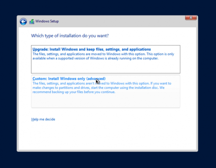 install windwos only