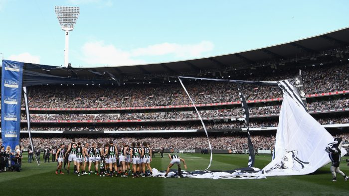 collingwood banner ripped grand final