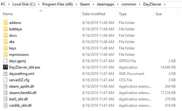 DayZ server setup directory
