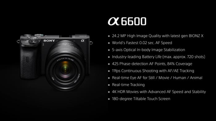 new sony a6600 camera specs