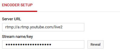 YouTube stream key