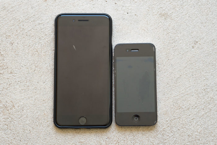 iPhone 7 plus with iPhone 4s